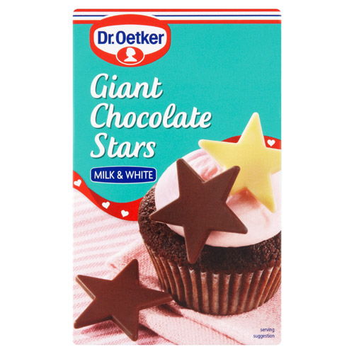 Dr Oetker Giant Chocolate Stars Milk And White Carton