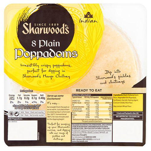 Sharwoods 8 Plain Poppadoms